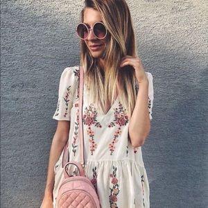 Zara Embroidered Floral Dress Tunic Peplum